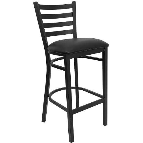 Flash Furniture HERCULES Series Black Ladder Back Metal Restaurant Barstool - Black Vinyl Seat