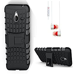 DMG Dual Hybrid Hard Grip Rugged Kickstand Armor Case for Microsoft Lumia 640 XL (Black) + White Stereo Earphone with Mic and Volume Control