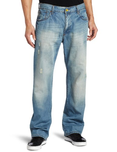 Rocawear Men's Volley Straight Leg Jean, Light Indigo, 36
