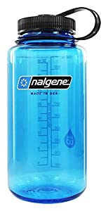 Nalgene BPA Free Tritan Wide Mouth Water Bottle, 32 Ozs, Blue - Black Lid