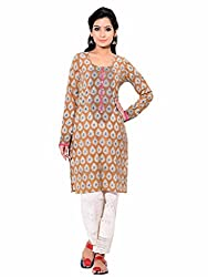 Aana Gold Leaf Aana Hand Block Printed Kurta-Medium