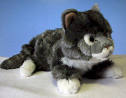 liegende graugetigerte Katze Maine Coon 30 cm,