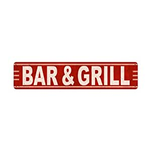 Bar grill food and drink metal sign for Plaque metal cuisine