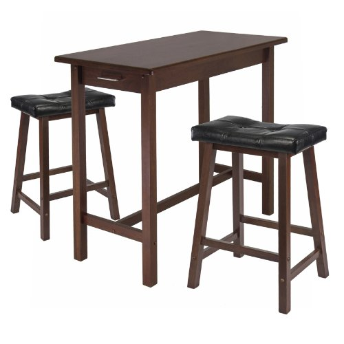Cheap Winsome Kitchen Island Table with 2 Cushion Saddle Seat Stools, 3-Piece (B005KPO7P4)