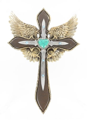 Gold Angel Wings Wall Cross - Intricate Details Faux Turquoise and Rhinestones - Rock and Roll Harley