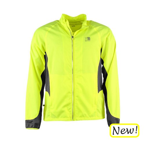 Mens Hi Viz Sports Jacket Fluorescent Yellow and Reflective by Karrimor. Running, Cycling, Training, Jogging, Exercise. Lightweight, Breathable, Bright Fluoro Sports Safety Top