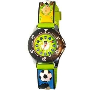 Baby Watch - Montre Garçon Football - Montre pédagogique 6-9 ans - Plastique gomme avec dessins 3D - Méthode d'apprentissage