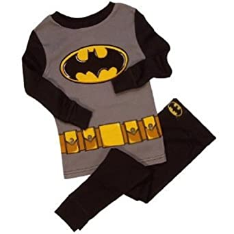 Batman Costume Young Boys Pajamas Set Size 10, Black
