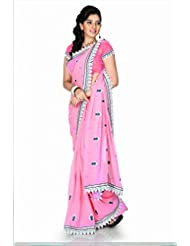 Designersareez Women Chiffon Embroidered Pink Saree With Unstitched Blouse(1208)