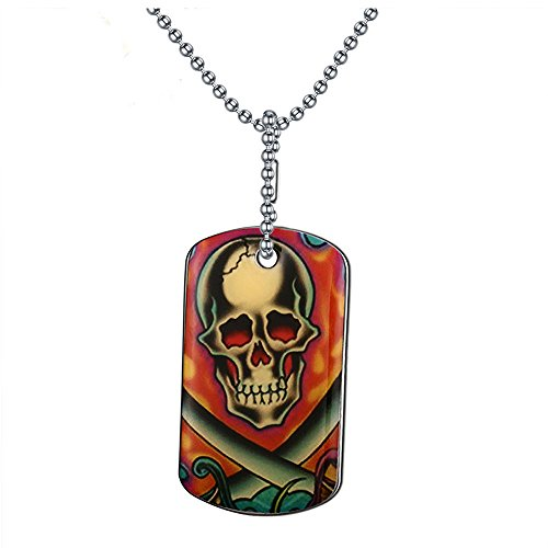[Pop Wild Men's Stainless steel skull X tag printing Pendant Necklace] (Pop Art Inspired Costumes)