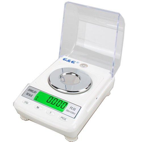G&G FC50 + Balance de précision avec poids de calibrage pour bijoux/or 50 g/0,001 g