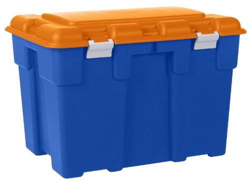 Huge 185 Litre Explorer Blue and Orange Plastic Storage Trunk with Big Hinged Lid. Heavy Duty Container Kids Toy Box, Garden, Garage or Shed.