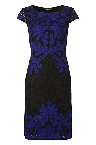 Womens Tapework Embroidered Lace Dress - Ladies - Blue - Size 10 12 14 16 18