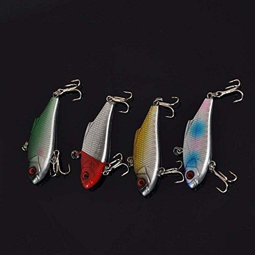4pcs 4.5g 5cm VIB Vibration Minow Fishing Lure Hard Bait with 2 Treble Hooks Fishing Accessory