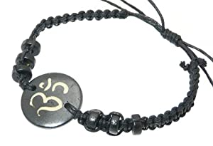 Neptune Giftware Cord & Wooden Beads Wristband Bracelet With Decorative Carved Bone Centre Piece - Different Styles Available - STYLE B - OHM / OM /AUM CENTRE PIECE & BLACK CORD