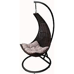 Dondolo Luna da giardino relax in Metallo e Simil Rattan colore Marrone cuscino Ecrù