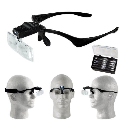 Professional Jeweler's Lighted Magnifier Visor – 5 Lenses 1.0X to 3.5X – Weighs Just 2 oz.