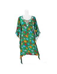 Aruna Singh Green With Multicolor Polka Dots Georgette Kaftaan For Women