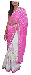 LolyDoll Women's Brocade Georgette Embroidered Work Saree_SR6 (Pink)