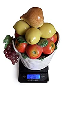 Manor Weigh - 11lb/5kg - Digital Multi-functional Kitchen and Food Scale with Stylish Tempered Glass Platform Providing Precision - Perfect for Professional / Personal Use (Gram Scale /Postal Scale)