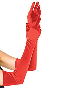 Leg Avenue - Extra long satin gloves. - One Size - Red - 16B