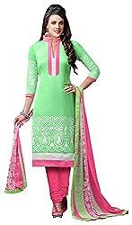 Swaman Green Chanderi Dress Material