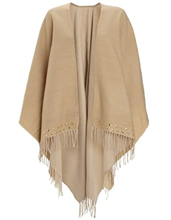 Accessorize Womens Stud Edge Poncho Size One Size Camel at Amazon
