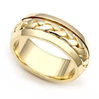 18k Yellow Gold 6.5mm Hand Braided Wedding Band Ring, 7.5
