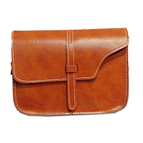 Vovotrade® donne ragazza faux cartella di cuoio borsa crossbody tote (colore marrone)