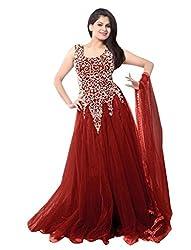 Kisha Cholli Collection Women's Net Unstitched Anarkali Set (cm123_Red_Freesize)