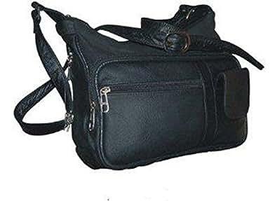 Gun Pocket Purse Concealed Carry Large Hobo Handbag Black Leather with Holster Zipper Closing