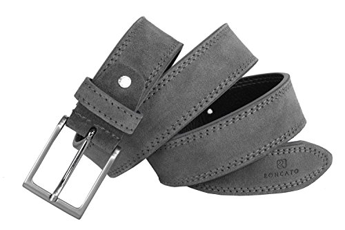 Cintura uomo RONCATO grigia in pelle scamosciata impunturata lunga 105 cm R6445