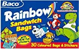 Rainbow sandwich bags, 30 Coloured Bags & Stickers