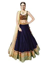 Sanjana Design Royal Blue Cotton Designer Bollywood Style Lehenga /Partywear Lehenga/Heavy embroidered lehenga (VG147_Free Size_Blue)