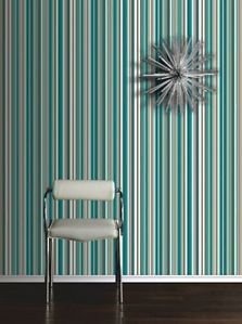 Sophia Stripe Wallpaper - Teal by New A-Brend