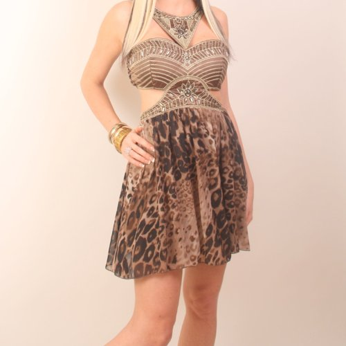 Ladies Leopard Print Cut Out Party Evening Going Out Mini Cocktail Dress Size 10