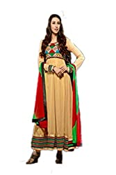 Bipson Women Georgette Dress Material (Shivam Karishma 614 _Gold _17-18 Years)