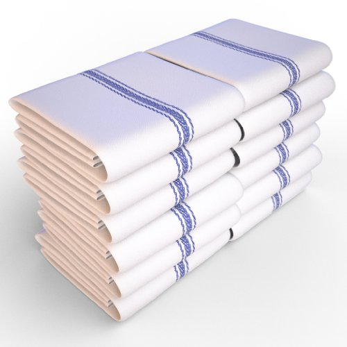 Keeble Outlets One Dozen (12) Kitchen Dish Towels – White – High Quality, Low Lint, Professional Grade 24 oz., 100% Cotton Tea Towel With Herringbone Weave for Exceptional Absorption. Use The Kitchen Towel Preferred by Professional Chefs Around the World – 25.5 in. x 14.5 in.