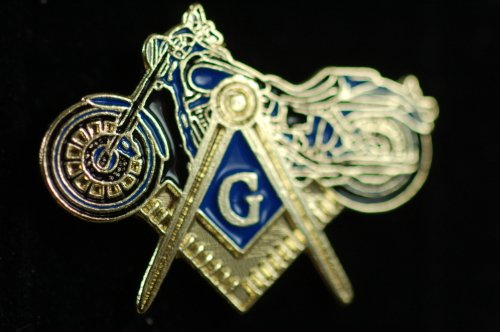 Lapel Pin Masonic Motorcycle with S&C