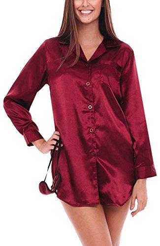 Del Rossa Womens Satin Nightshirt, Boyfriend Style Sleepshirt with Mask