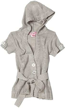 Pink Angel Big Girls' Belted Sweater, Light Heather Gray, Small