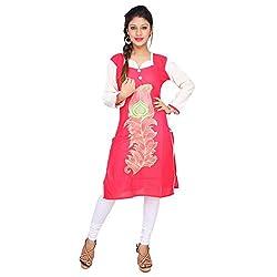 Sui Dhaga Red Embroidery Cotton Kurti