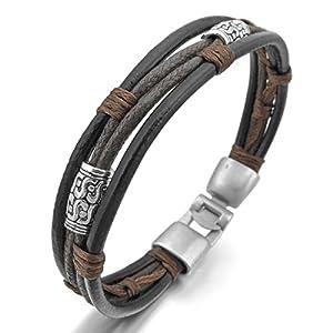 MunkiMix Alloy Genuine Leather Bracelet Bangle Rope Black Silver Brown Black Braided Men,Women from MunkiMix