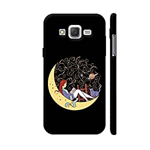 Colorpur Bookworm Girl On Yellow Moon Designer Mobile Phone Case Back Cover For Samsung Galaxy J5 | Artist: Abhijeet Sinha