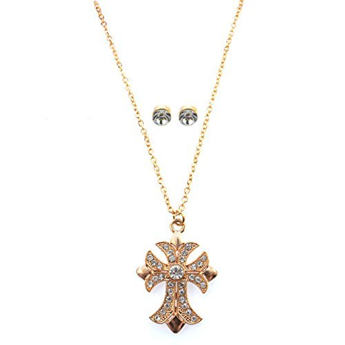 macys-holiday-lane-gold-tone-crystal-cross-pendant-necklace-crystal-stud-earrings-jewelry-set-by-hol