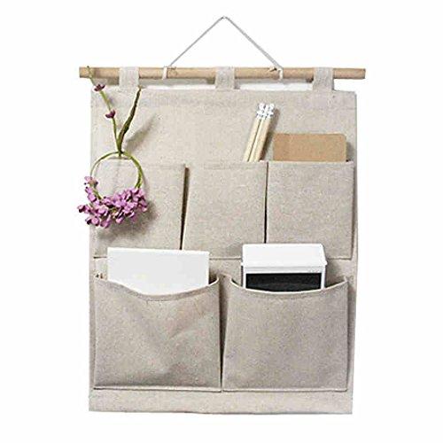Over the Door Magazine Storage Pockets, Wall Door Closet Hanging Storage bag organizer, (5 Pockets-Nature)