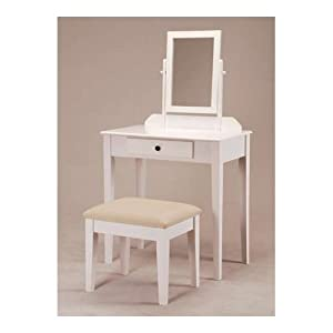 Amazon com white bedroom vanity table with tilt mirror amp cushioned