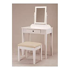 White Bedroom Vanity Table With Tilt Mirror Cushioned Bench