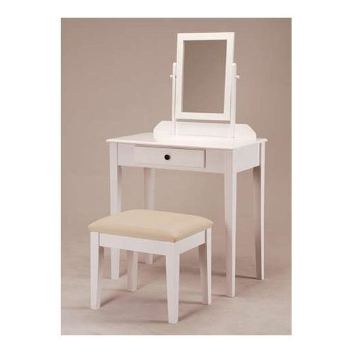 White Finish Wood Vanity Make up Table with Bench