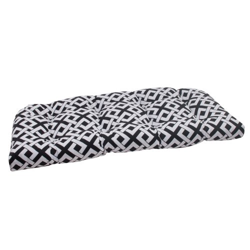 Pillow Perfect Indoor/Outdoor Boxin Wicker Loveseat Cushion, Black photo